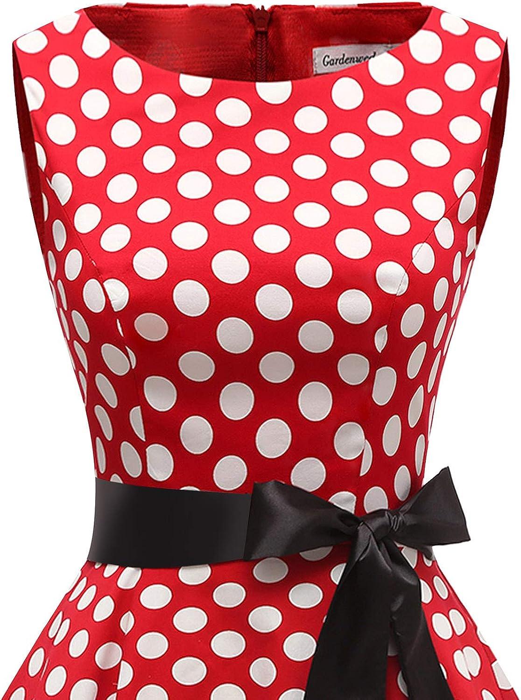 Gardenwed Robe Vintage Femme Ann/ées 40 50 60 Pin up Robe de Soir/ée Cocktail C/ér/émonie Style Audrey Hepburn Rockabilly Swing Col Rond sans Manche