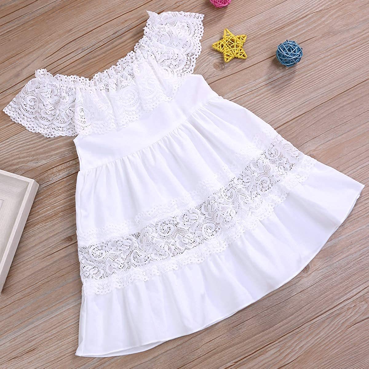 YOUNGER TREE Kids Baby Girls Hollow Ruffle Dress Off Shoulder Lace Dress Party Princess White Dress