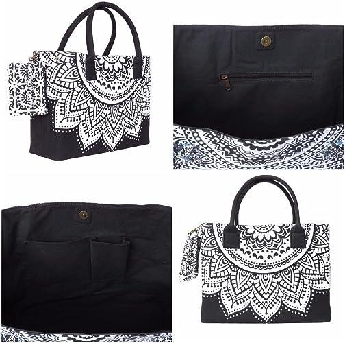 Bolso de mano indio con mandala ombre hippie, estilo boho, estilo bohemio, estilo étnico, de algodón, para mujer C-60: Amazon.es: Zapatos y complementos