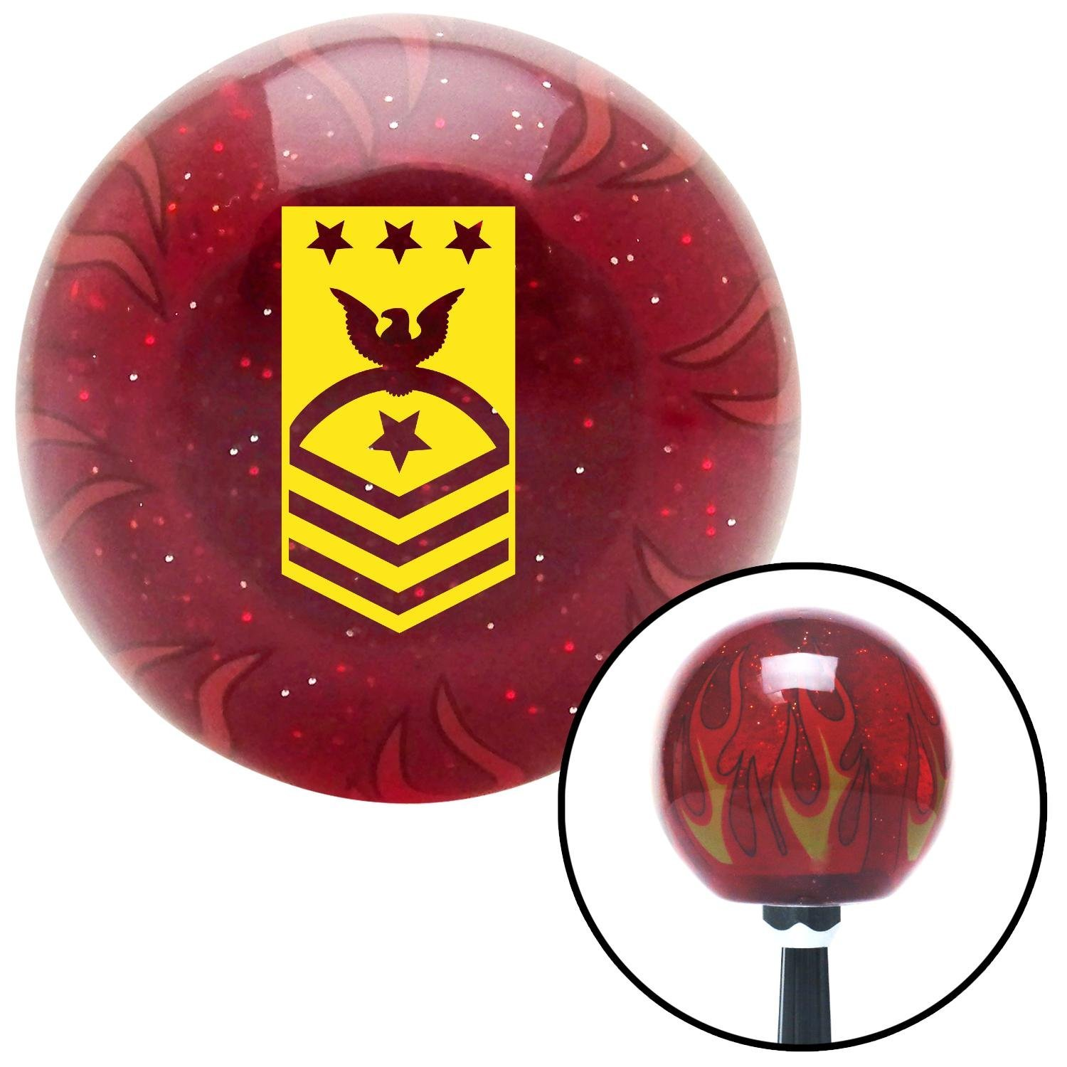 American Shifter 241509 Red Flame Metal Flake Shift Knob with M16 x 1.5 Insert Yellow Master Chief Petty Officer of The Coast Guard