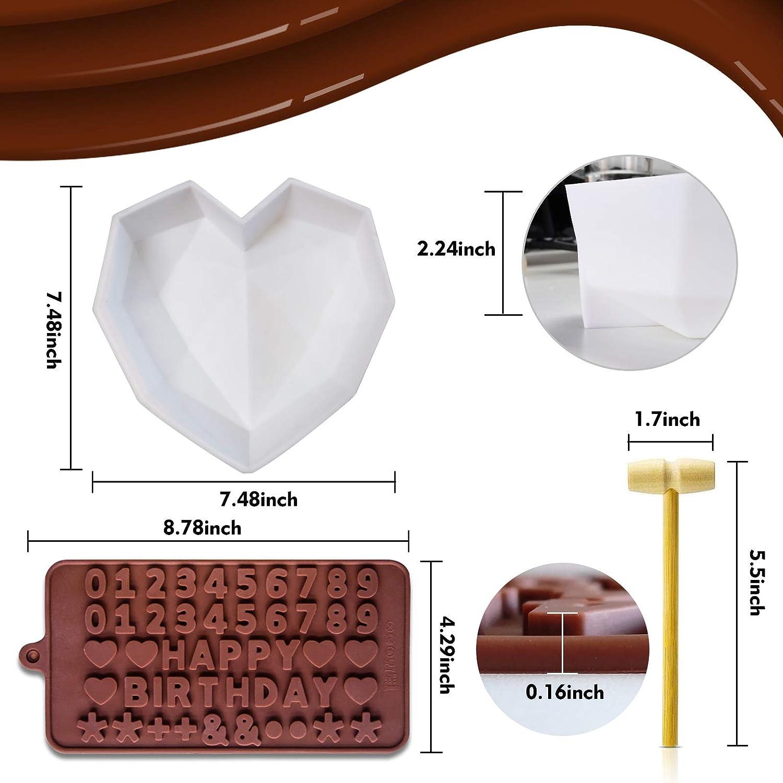 Juegos de moldes de silicona Molde en forma de diamante 3D Amor corazon Molde de letras n/úmeros Molde para hornear Bandeja de herramientas para hornear hecha a mano con un peque/ño martillo de madera