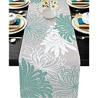 ARTSHOWING Chrysanthemum Flower Table Runner Teal Grey White Rectangular Runner for Party Decoration Wedding Baby Shower…