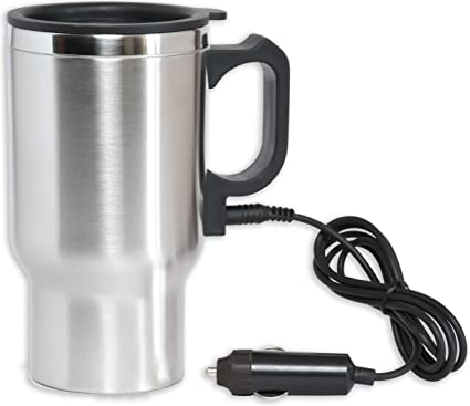 df5035c9ace 12V Heated Travel Car Mug – Insulated Stainless Steel Auto 16Oz DC Coffee  Water Tea Drink Thermos Cup - Keep Drinks Warm