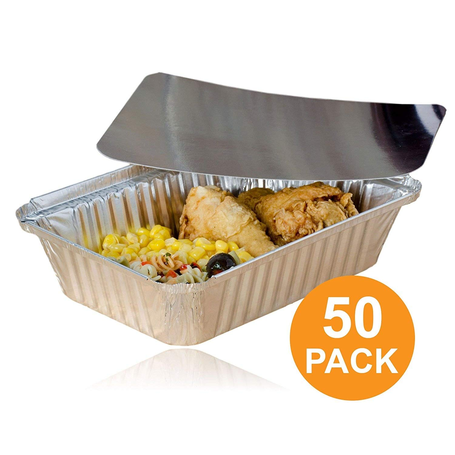 Rectangular Disposable Aluminum Foil Pan Take Out Food Containers with Flat Board Lids, Steam Table Baking Pans, 32 oz, 2.25 lb, Quart [50 Pack]