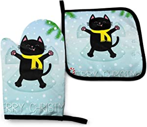 Hello Winter Cute Black Cat Oven Mitts and Pot Holders Set,Heat Non-Slip Resistant Waterproof Gloves for Kitchen Cooking Baking,BBQ,Grilling