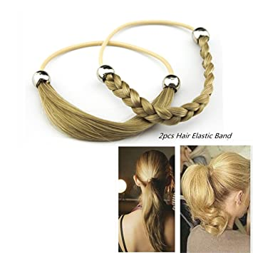 Amazon.com  MERRYLIGHT 2pcs Synthetic Hair Bands Elastic Twisted Braided  Headband Ponytail Holders for Ladies 062324(T24 88-Mix Blonde)  Beauty 5a427ffc4d6
