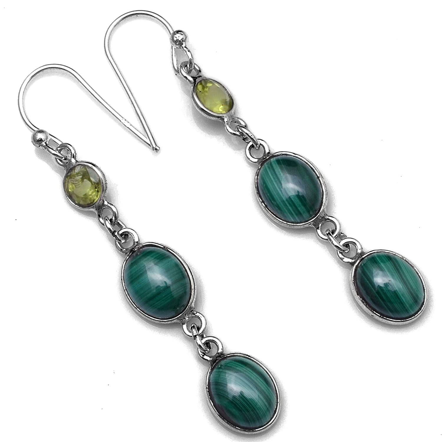 Silver Palace Sterling Silver Natural Malachite,Peridot Earrings for Womens and Girls