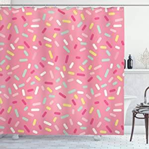 Ambesonne Pink and White Shower Curtain, Abstract Pattern of Colorful Donut Sprinkles Tasty Food Bakery Theme, Cloth Fabric Bathroom Decor Set with Hooks, 84