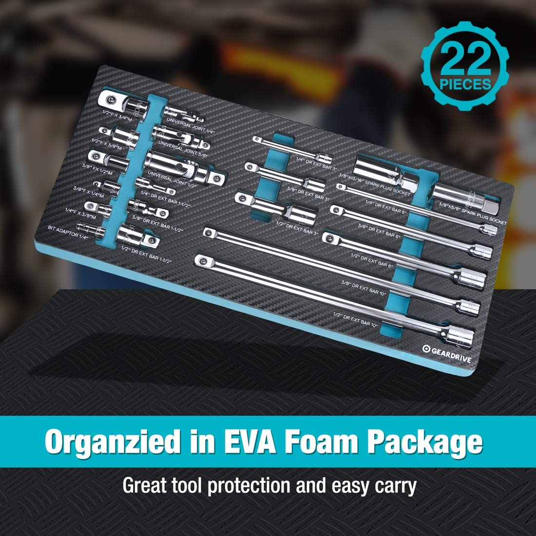 1//2 Drive GEARDRIVE 22-Piece Drive Tool Accessory Set 1//4 Organized in EVA Foam Package Extensions Universal Joints and Impact Coupler 3//8 CR-V Steel with Mirror Finish Includes Adapters