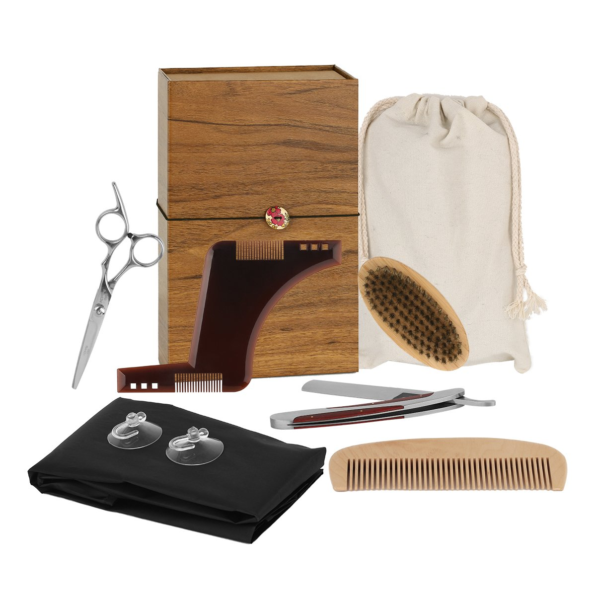 Beard Care Set, INKERSCOOP Beard Gift Set 7-Pieces Beard Brush + Stainless Beard Scissors + Manual Razor + Beard Mask + Beard Bib + Beard Combs + Gifts Box, Wanted Beauty Gift Set for Men and Barter