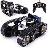 SGILE RC Tank Remote Control Car - 360° Flip Stunt Car Toy with Flashing Lights & Lifelike Sound, Black