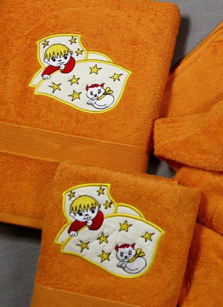 Juego de Toallas Infantiles Bordadas 2 piezas 550gr FISH S-100 D/CU (Naranja): Amazon.es: Hogar