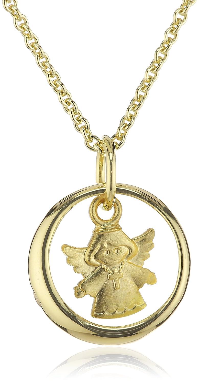 Xaana Kinder und Jugendliche-Anhänger Taufring mit Engel Zirkonia 8 Karat 333 Gelbgold + vergoldete 925 Silberkette 36-38 cm AMZ0187