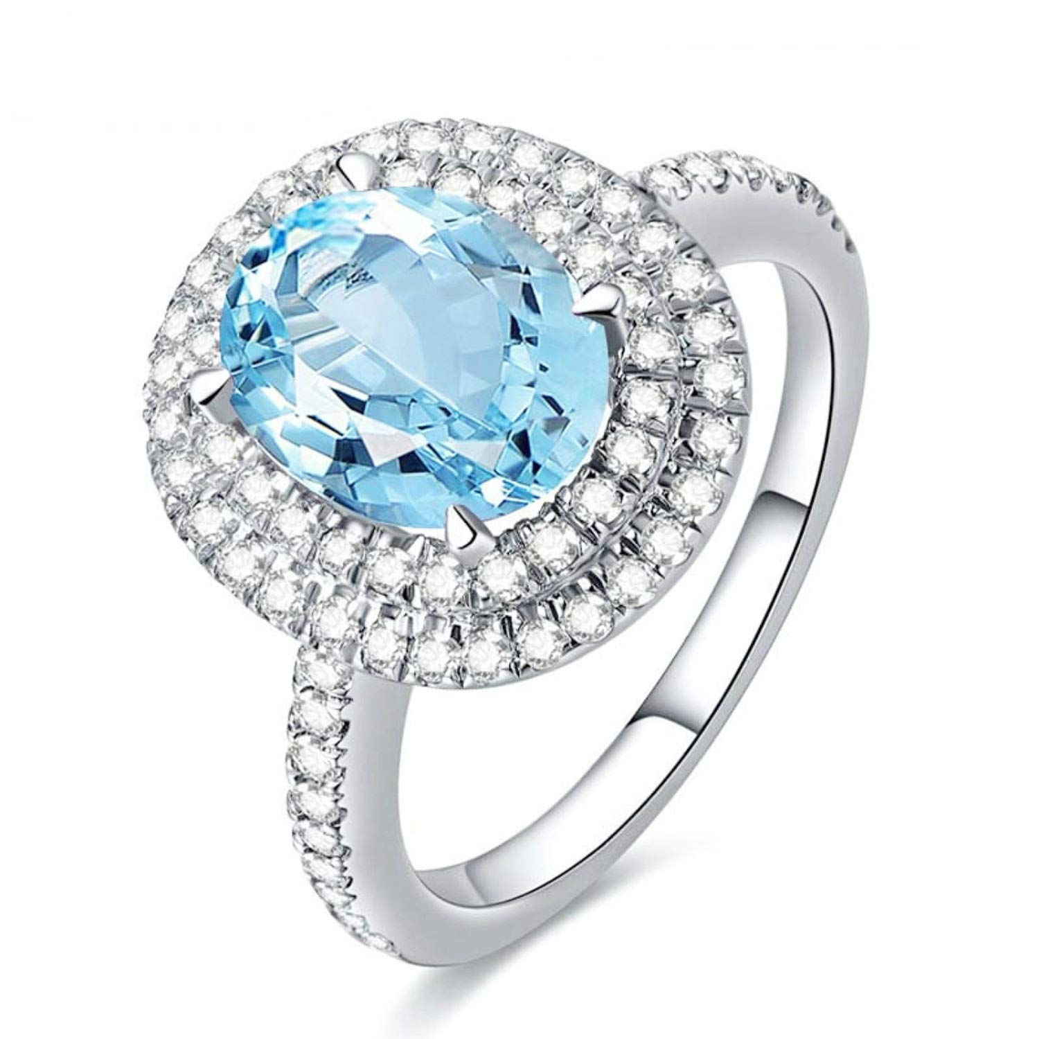 AMDXD Jewelry 925 Sterling Silver Anniversary Rings Women Blue Oval Cut Topaz Oval Rings