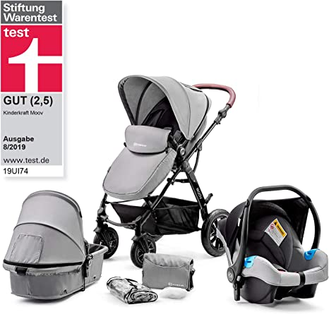 Accessories 0-13 Kg with Carrycot Foldable Kinderkraft Pram 2 in 1 Set Juli Denim Cup Holder for Newborn Rain Cover Baby Pushchair Footmuff from Birth to 3 Years Travel System Buggy