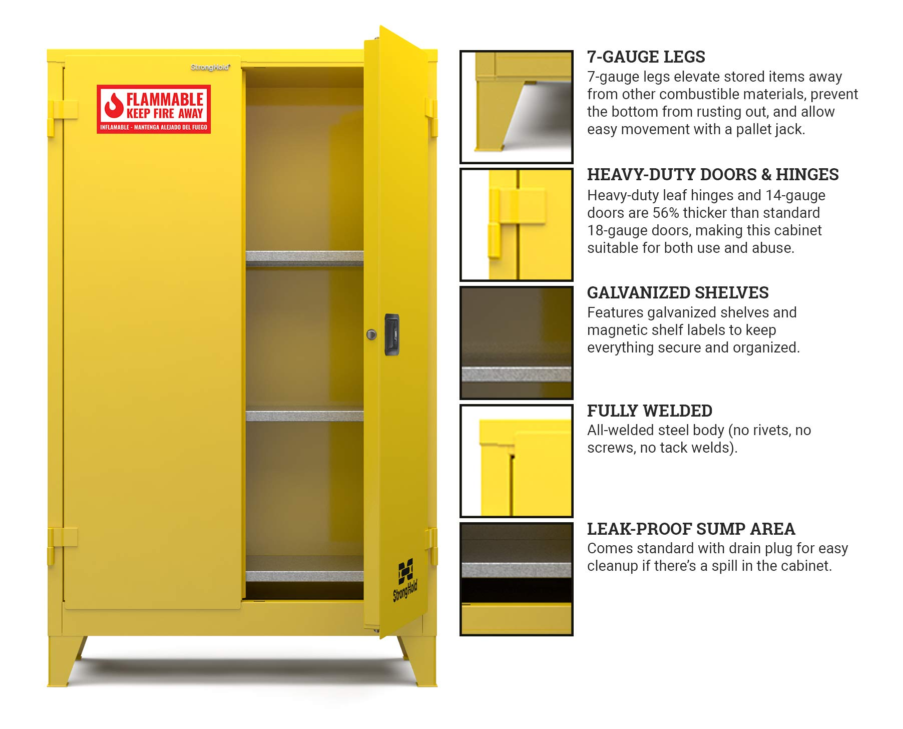 """Strong Hold-Heavy-duty Doors and Hinges,3 Shelves, 6 Magnetic Shelf Labels, Heavy-Duty 6"""" Legs, 15-Yr Warranty, Safety Cabinet-Flammable, 43""""W x 18""""D X 64.5""""H, Manual Close, 45-Gallon, NFPA, CAB000017"""