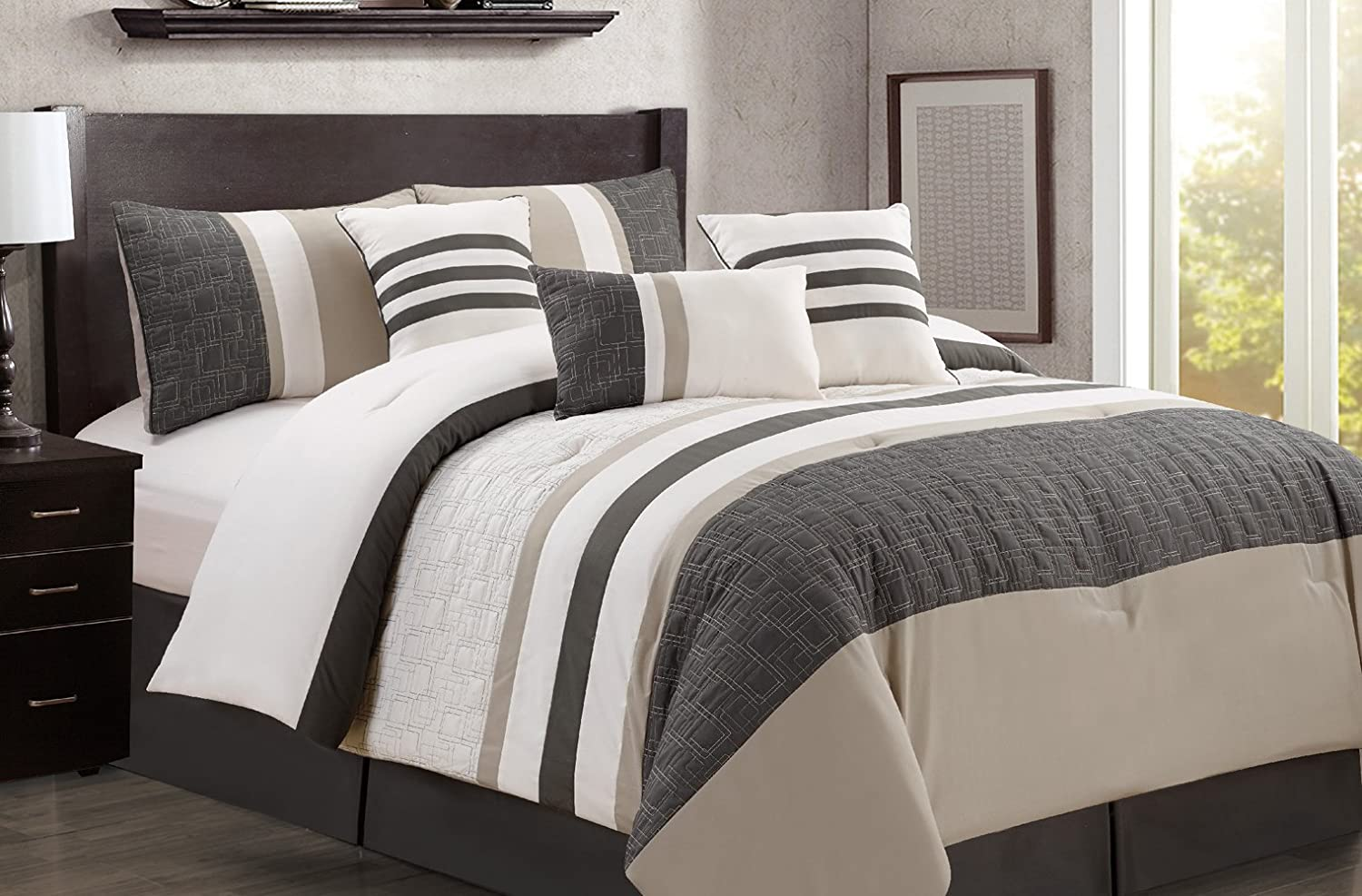 BEDFORD 7PC COMFORTER SET, INCLUDES ONE COMFORTER, 2 PILLOW SHAMS, 3 CUSHIONS AND A BEDSKIRT (Grey, Queen) LS Home Fashions