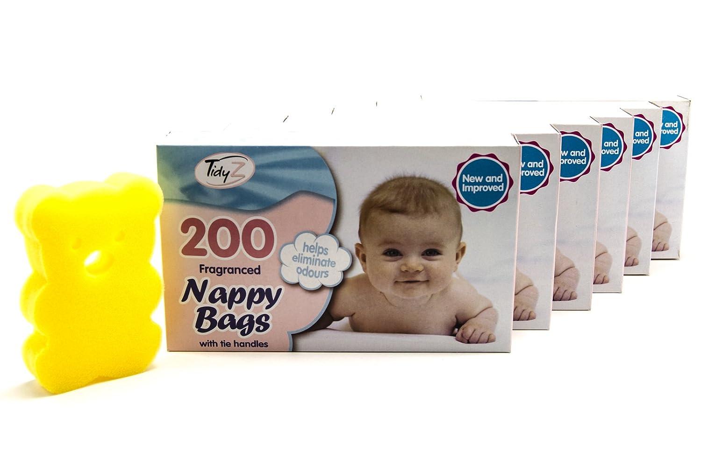 1200 x Extra Value Disposable Nappy Bags | Easy Tie Handles | Elegantly Scented Nappy Sacks | Novelty Teddy Bear Sponge Tidyz