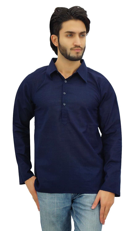 Atasi Kurta Roll-Over-Hemd-Kragen-Necks Männer Ethnische Indische Kleidung