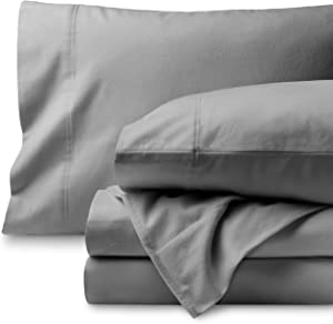 Bare Home Flannel Sheet Set 100% Cotton, Velvety Soft Heavyweight - Double Brushed Flannel - Deep Pocket (Queen, Light Grey)