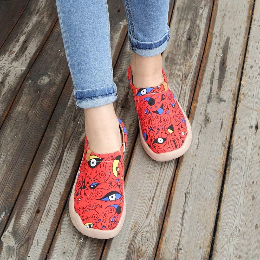UIN Chaussures Femmes Confort Souple Toile Art Mocassins Mode Voyage Originales Chaussures de Décontractées Slip-on Chaussure Bateau Femme Basket Plates Loafers Red Fire
