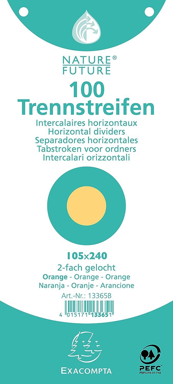 Exacompta 105x240 mm Nature Future Paquet 100 fiches Intercalaire neutre /à lItalienne Orange