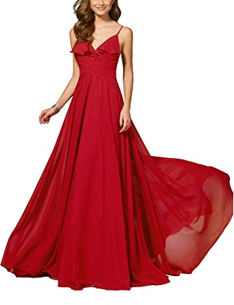 f10cbefb34 PLMS Women s Backless Chiffon Long Evening Dresses for Women Formal Gowns  EV015 at Amazon Women s Clothing store