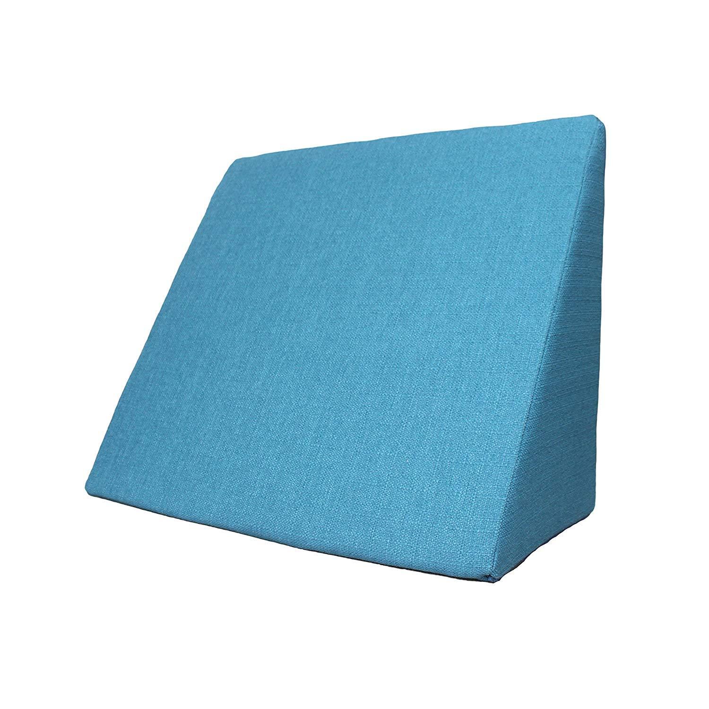 Cuscino a forma di cuneo per il letto o il divano, ideale per guardare la TV, lavorare al tablet, per rilassarsi o leggere, colore turchese (dimensioni 60 cm x 50 cm x 30 cm) colore turchese (dimensioni 60cm x 50cm x 30cm) salosan