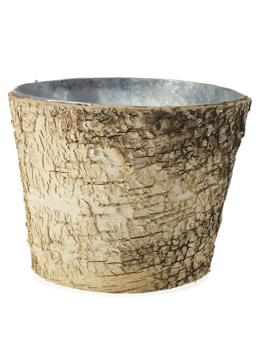 Birch pot with zinc interior, set of 2