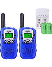 Walkie Talkies Niños PMR446 con 8 Piezas Baterías Recargable y Cargador 8 Canales Función VOX LCD Pantalla 10 Tonos Linterna Incorporado Walky Talky (Azul, 1 Par)