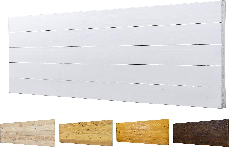 Cabecero de Madera Maciza Mod. Roma para Camas de 80cm, 90cm, 110cm, 135cm, 150cm. Herrajes incluidos (145cm X 60cm, Blanco)