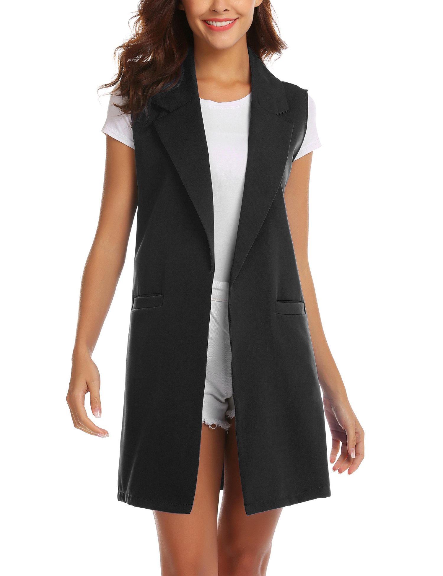 Showyoo Women's Long Sleeveless Duster Trench Vest Casual Lapel Blazer Jacket Black XL