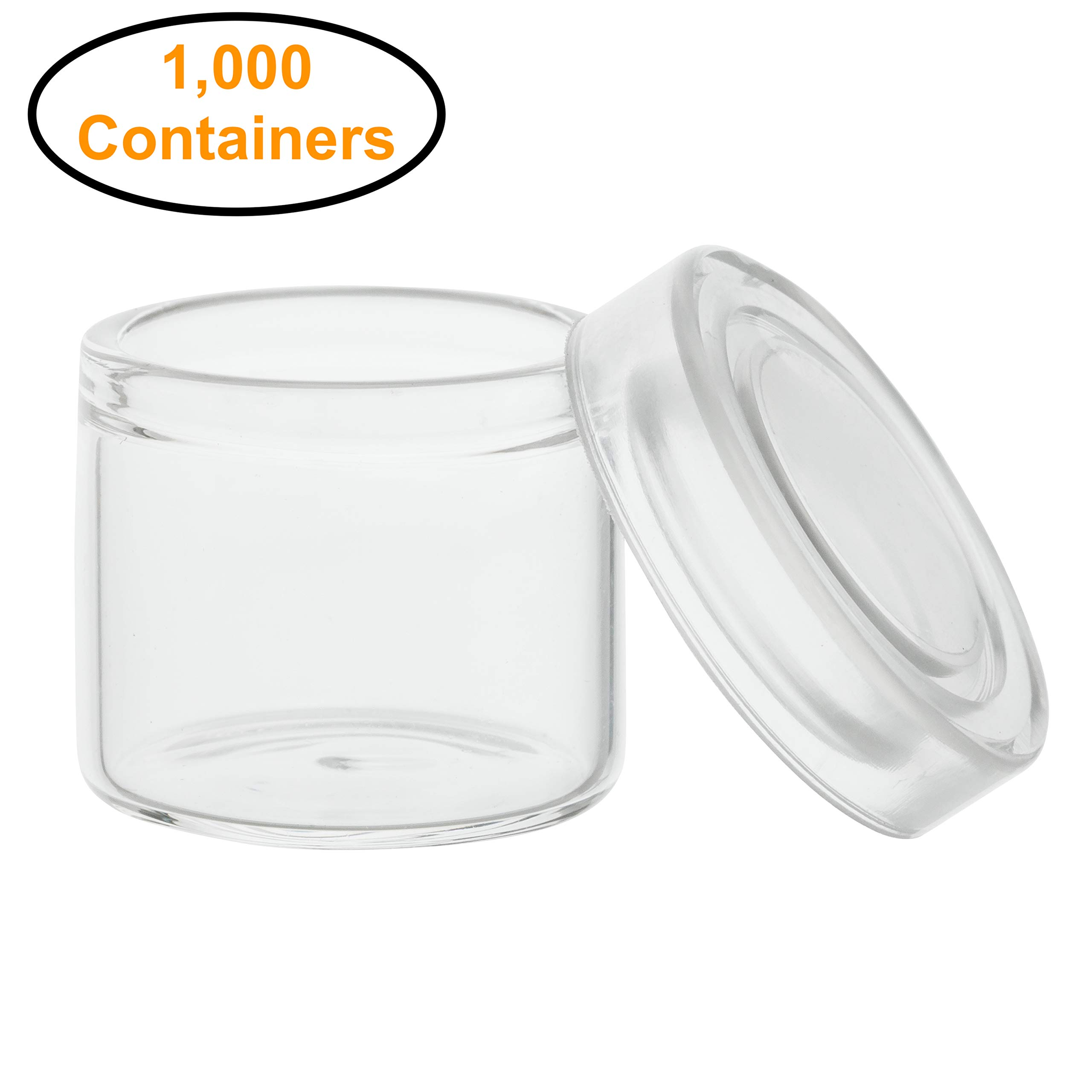 1,000pcs - 6ml Glass Concentrate Containers with Clear Silicone Lids for Oil, Cosmetics, Gram Jars, Dab Jars by BagsandJars