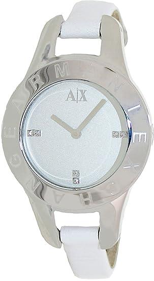 bde15a977b Armani Exchange Women s AX4124 White Leather Quartz Watch with Silver Dial   Armani Exchange  Amazon.ca  Watches