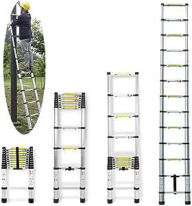 Portátil Multiusos escalera telescópica de 3,8 M plegable 13 pasos aluminio DIY escalera para desván HOME oficina casa – Extensión Extensible – Max 150 kg: Amazon.es: Bricolaje y herramientas