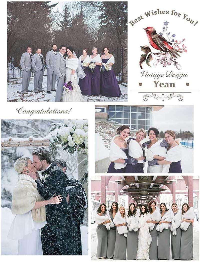 dise/ño de novia Blanco blanco Talla /única Chal de piel sint/ética para novia Yean para mujer
