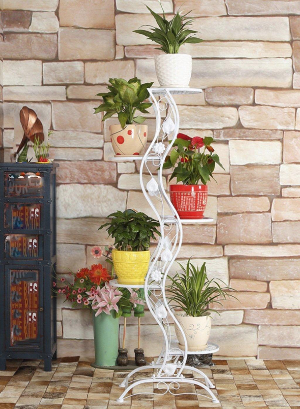 LB huajia ZHANWEI Pastoral-Eisen-Blumen-Zahnstange-Fußboden-mehrgeschossige Regale europäischer Art hochwertiger Bonsais-Rahmen-Balkon Flowerpot-Wand der Eisen-Blumen-Regale (größe : A-138cm)