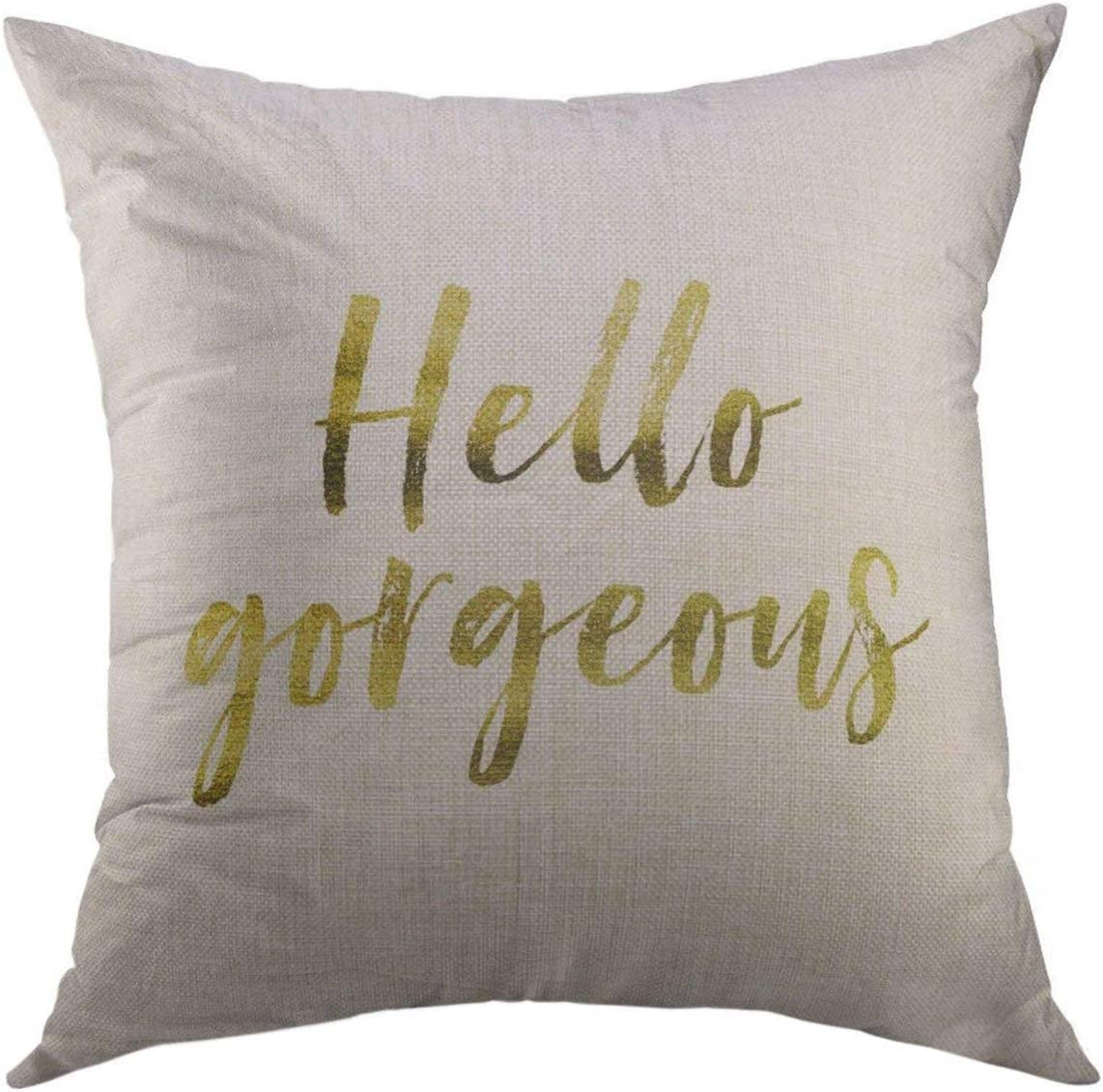 Mugod Decorative Throw Pillow Cover for Couch Sofa,Saying Hello Gorgeous Gold Inspirational Motivation Quote on Plain White Beautiful Home Decor Pillow Case 18x18 Inch