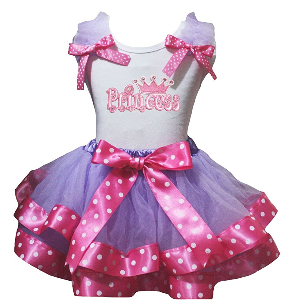 Petitebella Princess White Shirt Dot Hot Pink Purple Petal Skirt Nb-8y