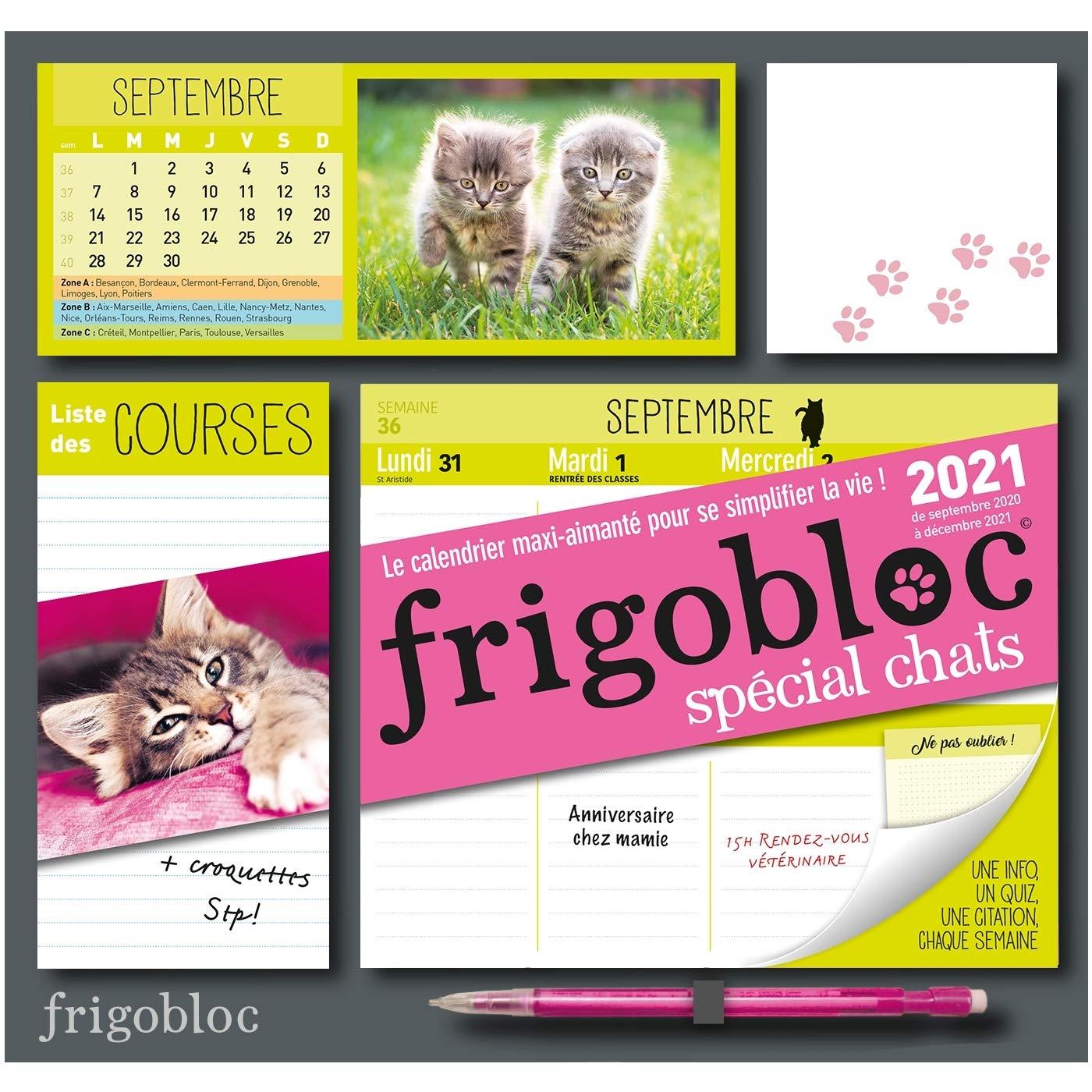 Frigobloc Chats 2021   Calendrier d'organisation familiale (de