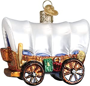 Old World Christmas Cowboy Pioneer Collection Glass Blown Ornaments for Christmas Tree Covered Wagon