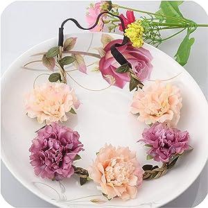 Girls Wedding Flower Wreath Headbands Peony Sakura Garland Elastic Rubber Hair Bands Accessories Delicate Boho Headwear,Color 6
