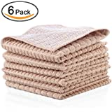 Kleanner SUPER PREMIUM Microfiber Kitchen Dish Cloth With Polyster Mesh Scour Side for Scrubbing, Double Side Scrubber Rags Cloth, Size 12 x 12 Inch, Set of 6 Packs ( Light Brown Colors)