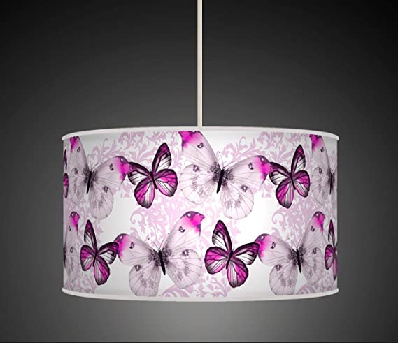 30cm butterfly purple lilac handmade giclee style printed fabric 30cm butterfly purple lilac handmade giclee style printed fabric lamp drum lampshade floor ceiling pendant light mozeypictures Gallery