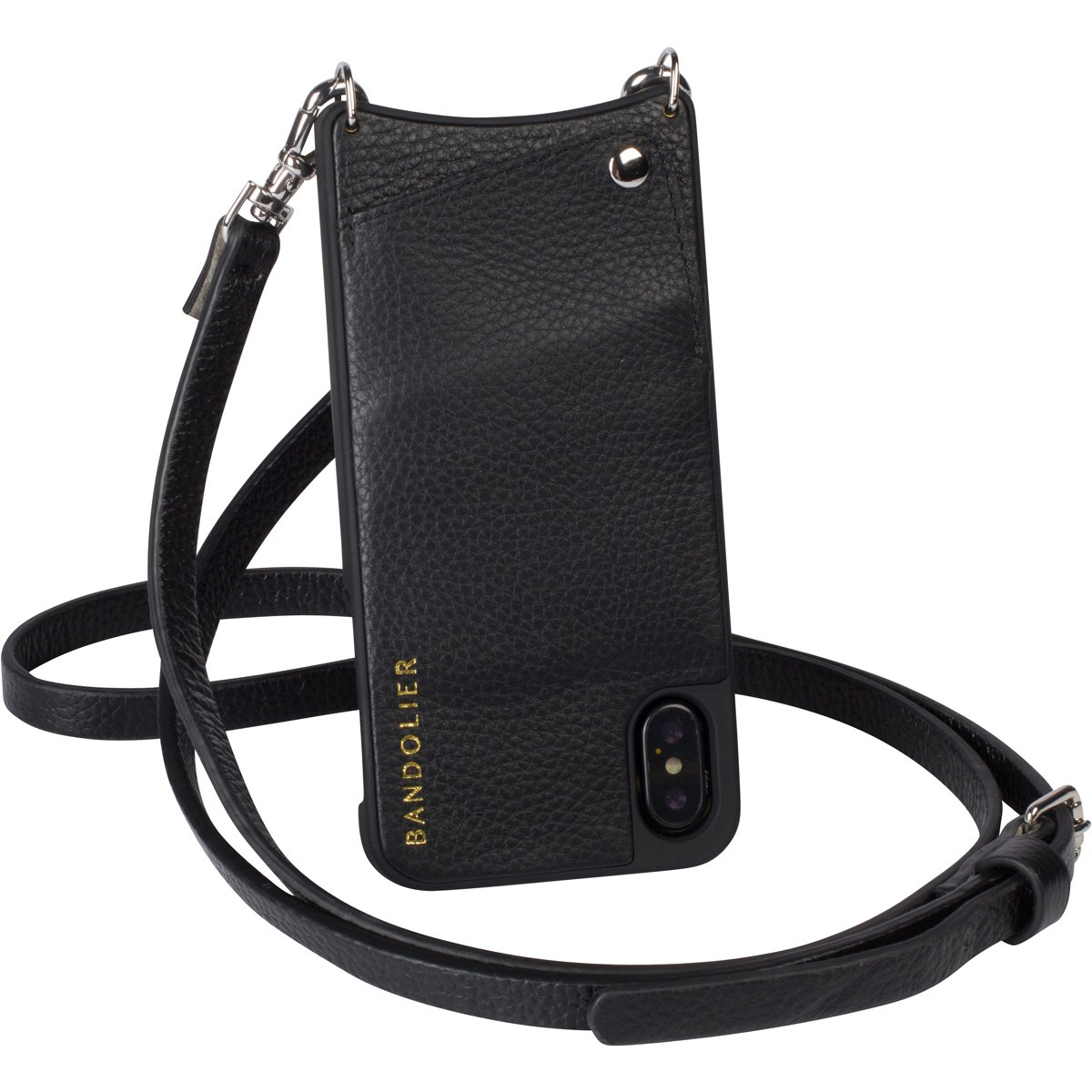 Bandolier [Emma] Crossbody Phone Case and Wallet - Compatible with iPhone X & XS - Black Leather with Silver Accent