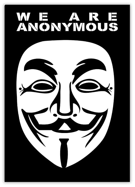 We Are Anonymous V Mask Guy Fawkes 4Chan meme 9Gag sticker decal 4