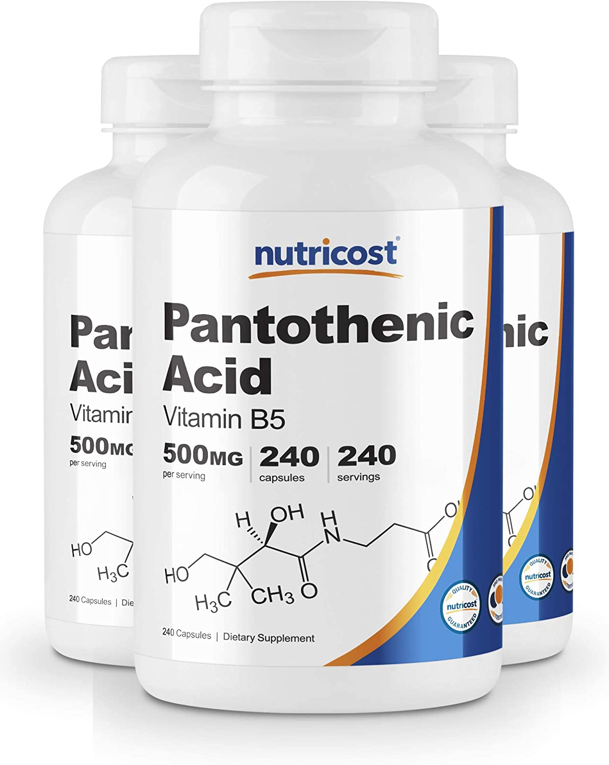 Nutricost Pantothenic Acid (Vitamin B5) 500mg, 240 Capsules (3 Bottles)