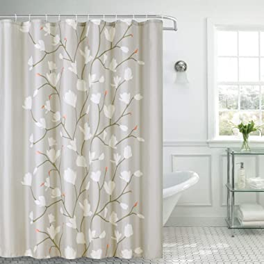 Shower Curtain Fabric Grey Flowers with Hooks Bath Curtain Waterproof, 72x72 INCH