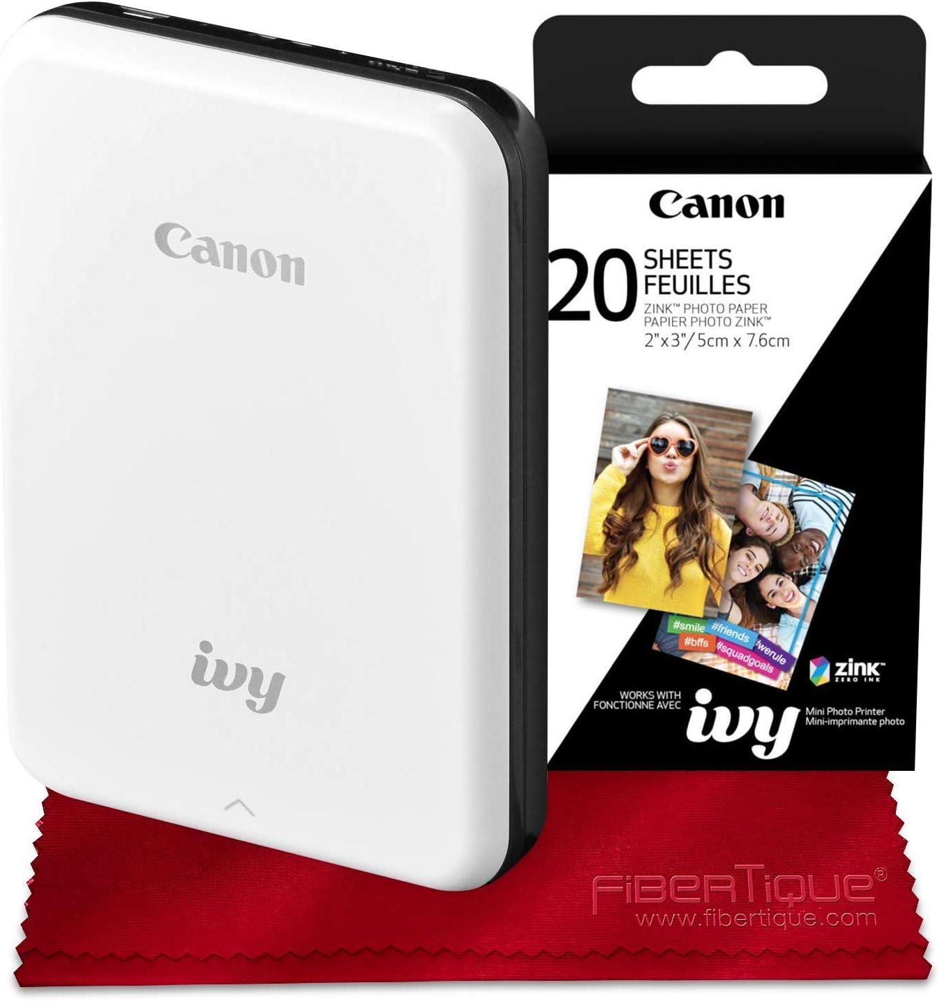 Slate Gray Canon Ivy Bluetooth Mini Mobile Photo Printer 2 x 3 Zink Photo Paper and Microfiber Cloth