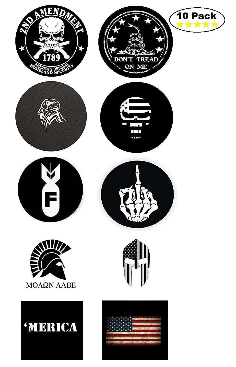 Union Hard Hat Stickers - BEST SELLER - 10 Decal Value Pack. Great for a Construction Toolbox, Hardhat, Lunchbox, Helmet, Mechanic, Military. Fun Gift for American Working Men & Women. USA Made. by H&E Deals